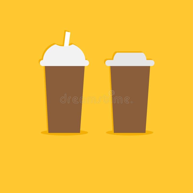Dwa papierowych filiżanek rozporządzalna kawowa ikona Płaski projekt ilustracja wektor