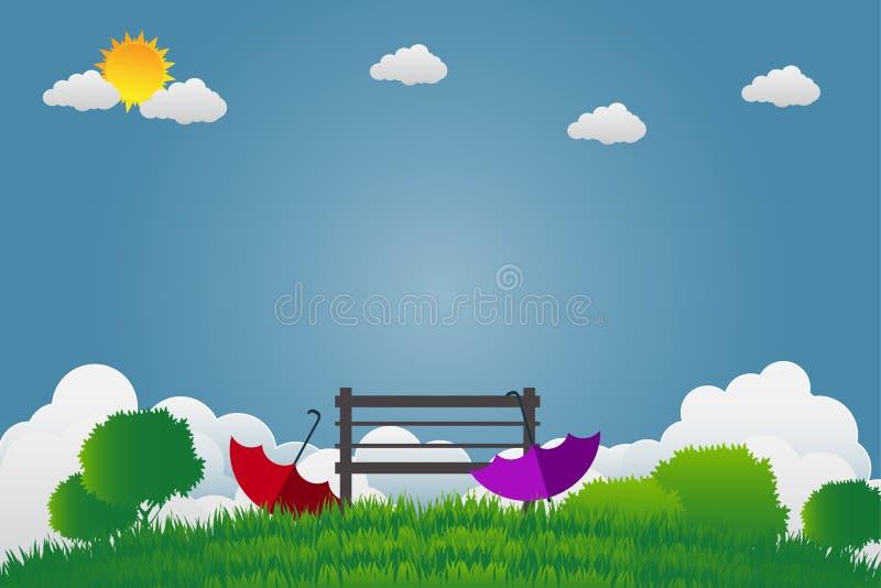 Dwa parasola i krzesło są w zielenieją ogród na jaskrawym niebie ilustracji