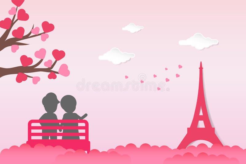 Dwa pary jest usytuowanym w krześle outdoors z miłości drzewa kształta kierowym liściem, wskazuje przy wieżą eiflą Para kochanków ilustracja wektor