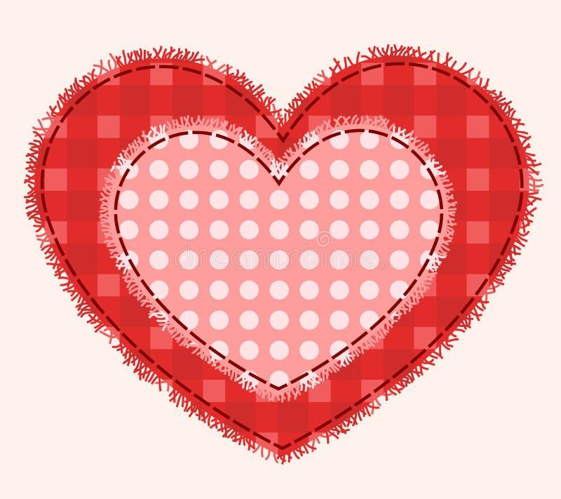 Download Dwa patchworku serca ilustracja wektor. Obraz złożonej z retro - 28545375