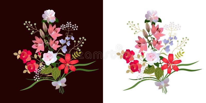 Dwa pięknego bukieta ogrodowi kwiaty odizolowywający na czarny i biały tło Luksusowa kolekcja w wektorze ilustracja wektor