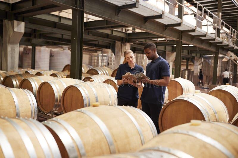 Dwa pięcioliniowy sprawdzać beczkuje w wino fabryki magazynie zdjęcia royalty free