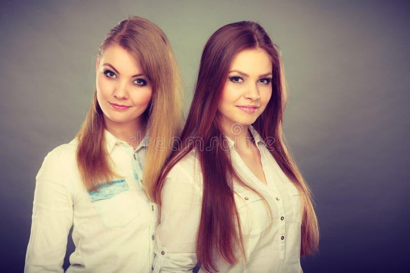 Dwa pięknej kobiety, blondynka i brunetka ma zabawę, obrazy stock