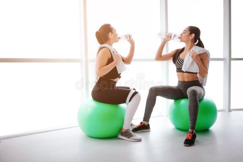 Dwa piękny i szczupłe młode kobiety siedzą na zielonych fitballs w sprawność fizyczna pokoju Piją wodę od butelek Modele odpoczyn fotografia royalty free