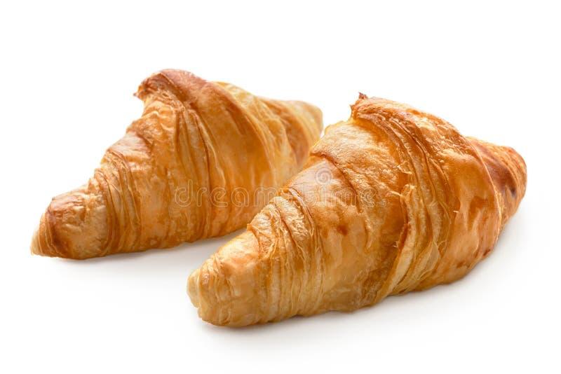 Dwa piec prostego croissants na bielu zdjęcia stock