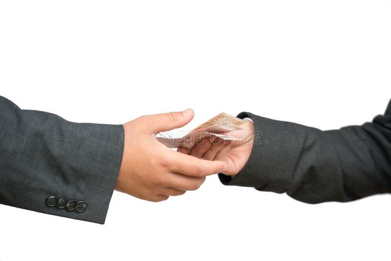 Dwa pieniądze i ręki zdjęcia stock