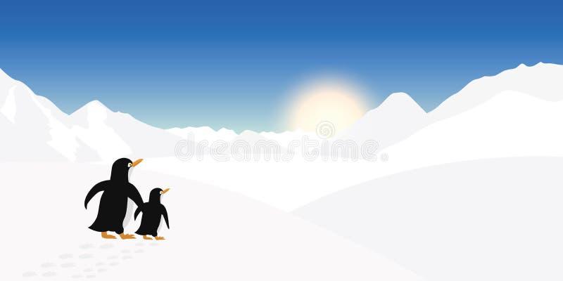 Dwa pingwinów spojrzenie w odległość zima krajobraz royalty ilustracja