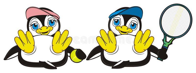 Dwa pingwinów sztuka tenis royalty ilustracja