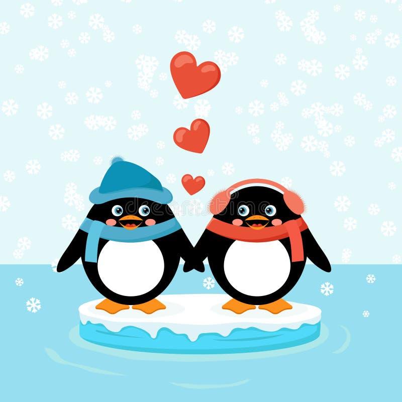 Dwa pingwinu na lodowym floe z sercami ilustracja wektor