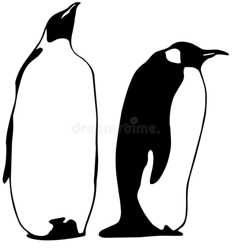 dwa pingwiny, royalty ilustracja
