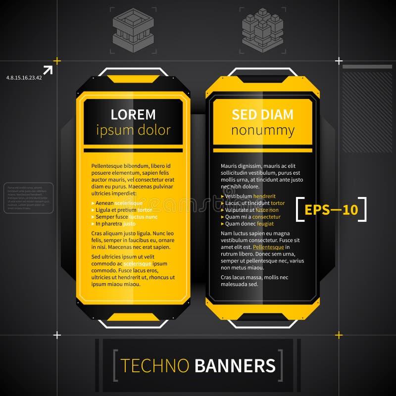 Dwa pionowo sztandaru w techno stylu Pożytecznie dla sieci reklamy lub projekta ilustracji