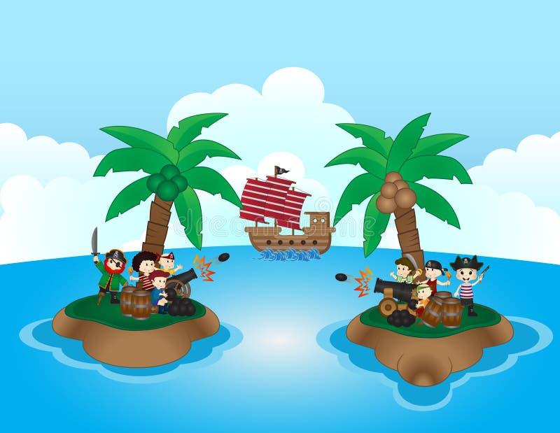 Dwa pirat grupy walczą w małej wyspie ilustracja wektor