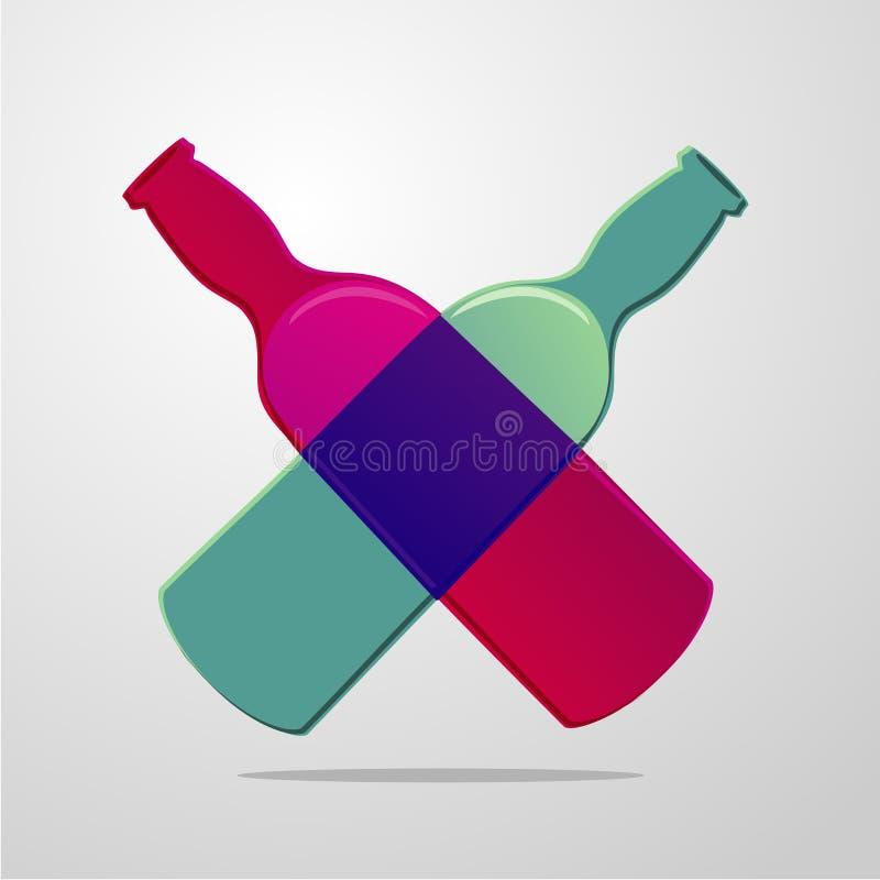 Dwa piwnej butelki forma kształt serce Alkoholu sklep i festiwalu znak Karczemna ikona z gradientowym szkłem ilustracja wektor