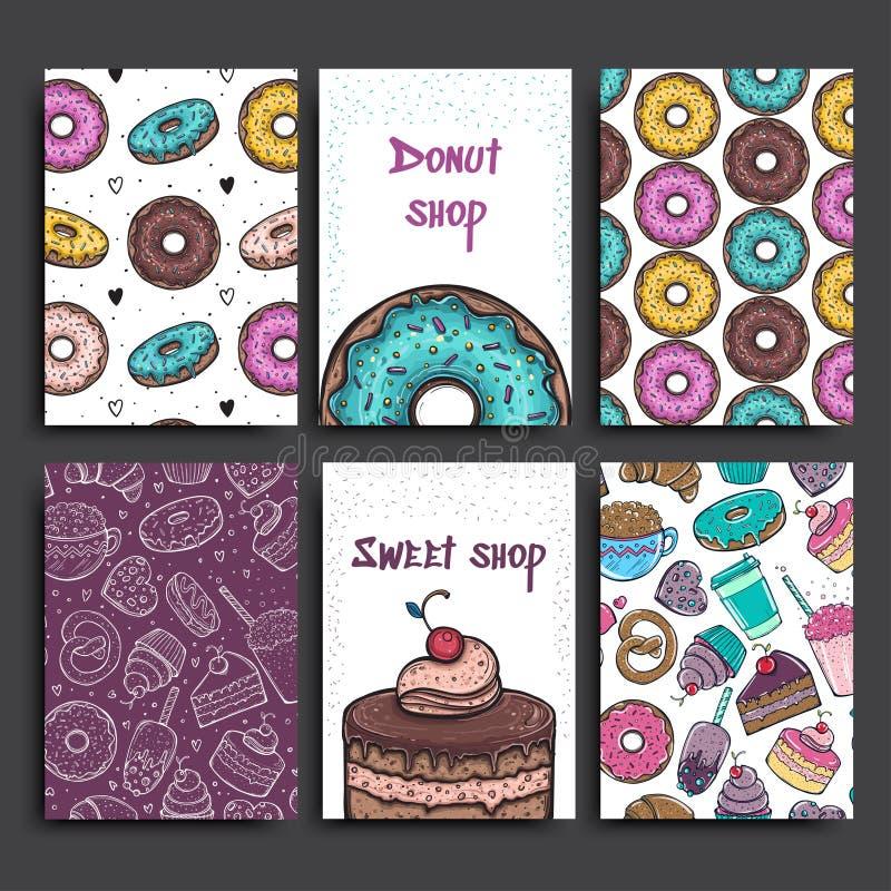 Dwa plakatów wektorowy szablon z donuts i kulebiakiem Reklamować dla piekarni kawiarni lub sklepu sweets tło ilustracja wektor