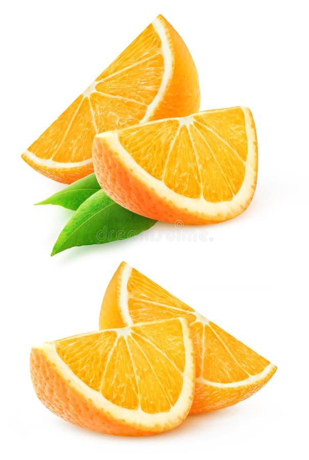 Dwa plasterka odizolowywającego pomarańczowa owoc fotografia royalty free