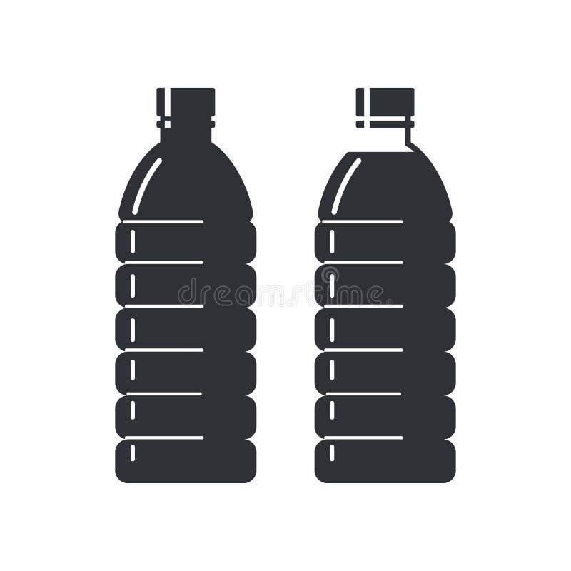 Dwa plastikowej butelki na białym tle, pusty i pełny Mieszkanie stylowe ikony royalty ilustracja