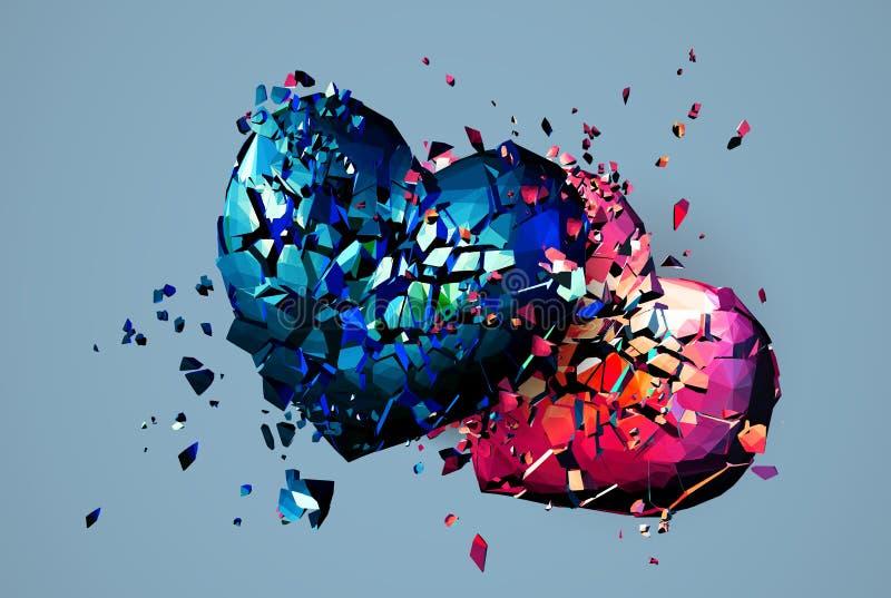 Dwa poligonalny serce rozbijający i łamający oba ilustracji