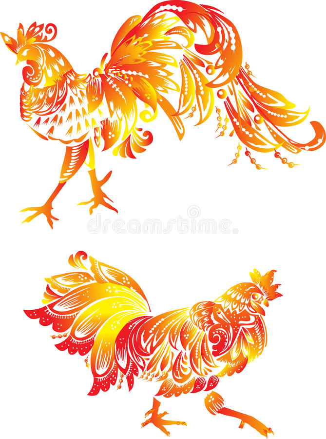 Dwa pomarańczowego płomienia koguta na bielu ilustracji