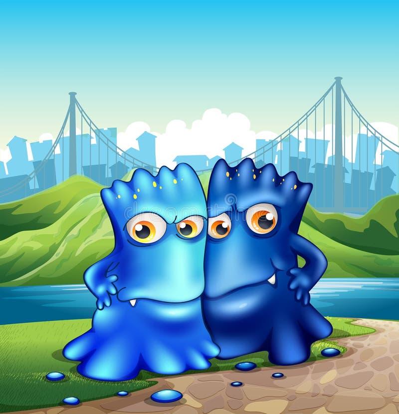 Dwa potwora w mieście ilustracji
