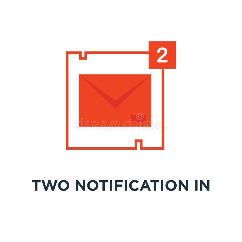 dwa powiadomienie w pełnej czerwonej poczty ikonie, symbol ty «ve dostawać poczta z ekspedycji i reklamy pojęcia raportową przyby royalty ilustracja