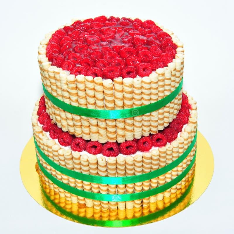 Dwa poziomów wanilii tort dekorujący z finetti kijem obraz royalty free