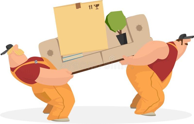 Dwa pracującego mężczyzna niosą kanapę, pudełko rzeczy książkowy salowego i rostenie, tło pracownik pudełkowaty doręczeniowy przy zdjęcia stock