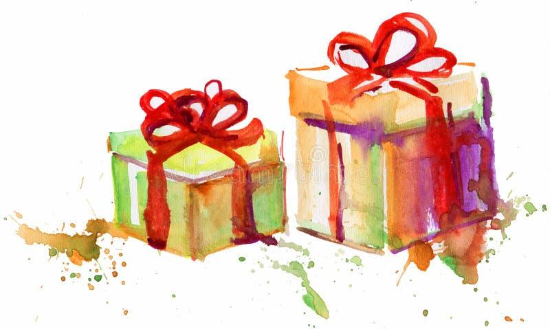 Dwa prezenta pudełka Doodle ilustracja wektor