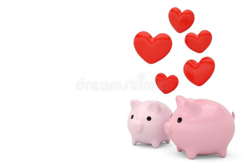 Dwa prosiątka bank z czerwonymi sercami ilustracja 3 d royalty ilustracja