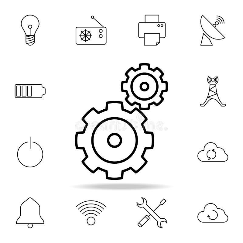 Dwa przekładni ikona Szczegółowy set proste ikony Premia graficzny projekt Jeden inkasowe ikony dla stron internetowych, sieć pro ilustracja wektor