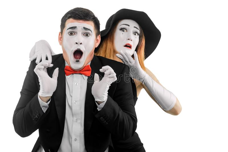 Dwa przelękłego mima aktora obrazy royalty free