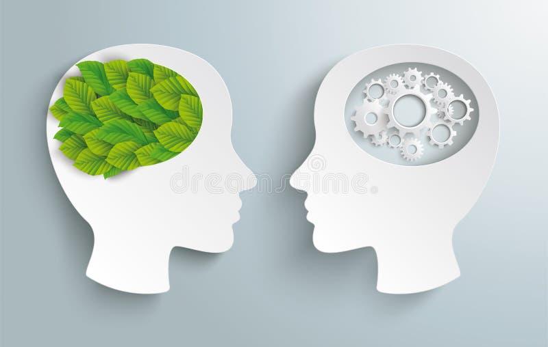 Dwa Przewodzą przekładni Eco zieleni liście ilustracja wektor