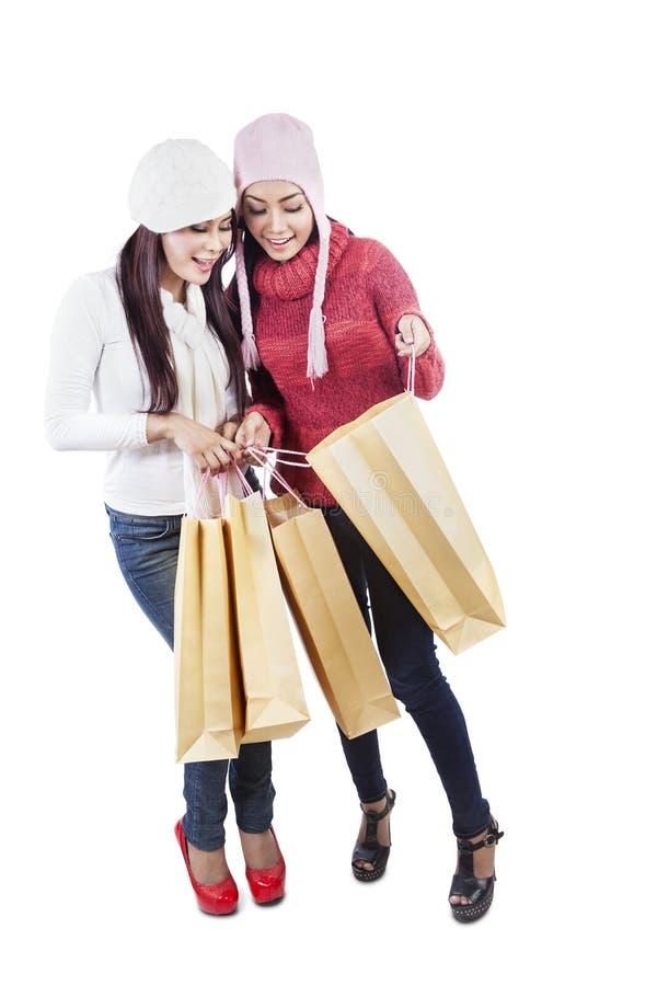 Dwa przyjaciół spojrzenia torba na zakupy odizolowywającego w biel zdjęcie stock