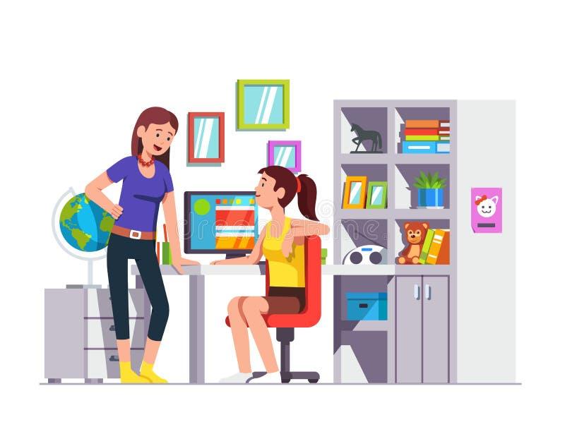 Dwa przyjaciół szkolny studencki opowiadać, robi pracie domowej royalty ilustracja