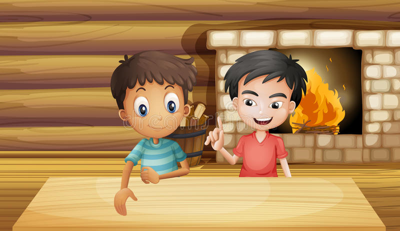 Dwa przyjaciela wśrodku domu z grabą royalty ilustracja