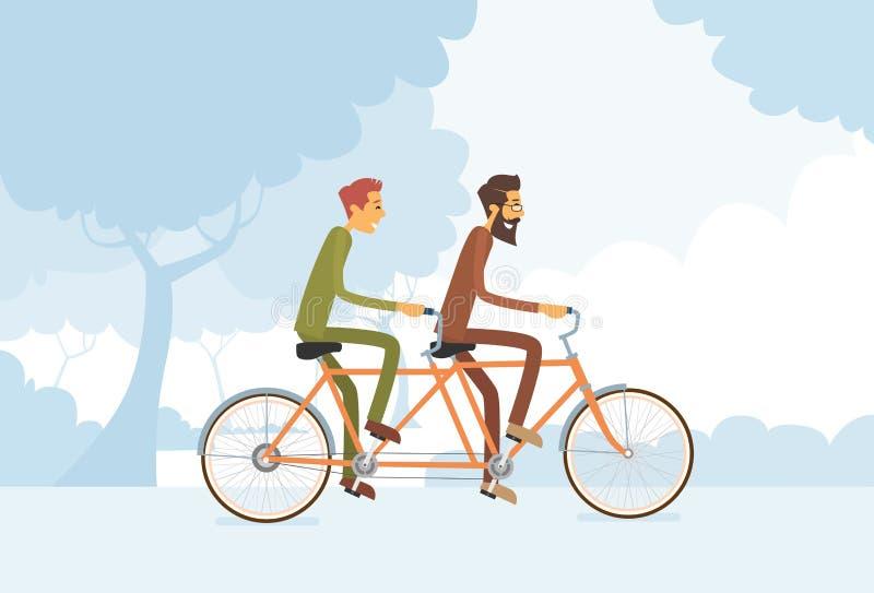 Dwa Przypadkowego mężczyzna Jeździecki Tandemowy bicykl ilustracji