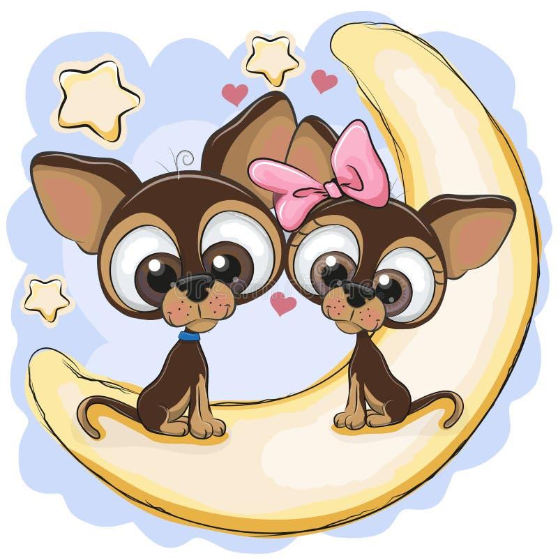Dwa psa siedzą na księżyc ilustracji