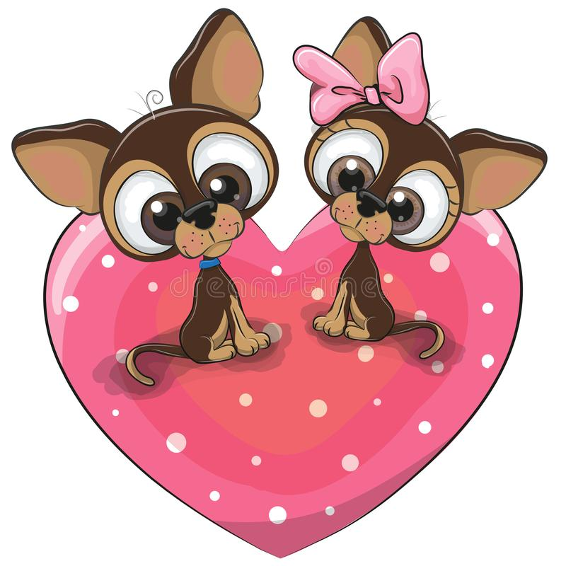 Dwa psa siedzą na sercu royalty ilustracja