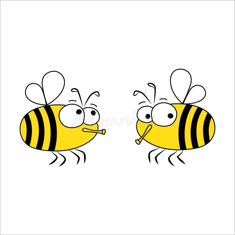 dwa pszczół ilustracja wektor