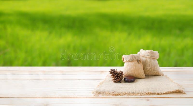Dwa puści konopie worka sosny i torby rożki na drewnianym stołowego wierzchołka floo fotografia royalty free