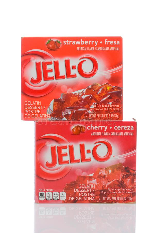 Dwa pudełka wiśnia i truskawka jell, gelatin deser obrazy stock