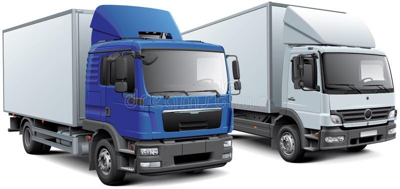 Dwa pudełkowatej ciężarówki ilustracja wektor