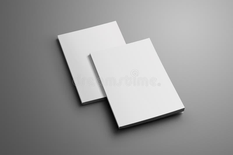 Dwa puste miejsce zamykał A4, A5 broszurki z miękką częścią cień odizolowywający o ilustracji
