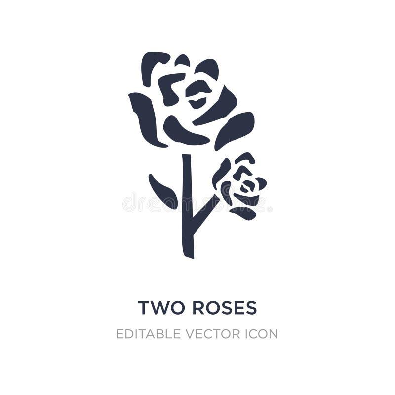 dwa róż ikona na białym tle Prosta element ilustracja od natury pojęcia ilustracja wektor