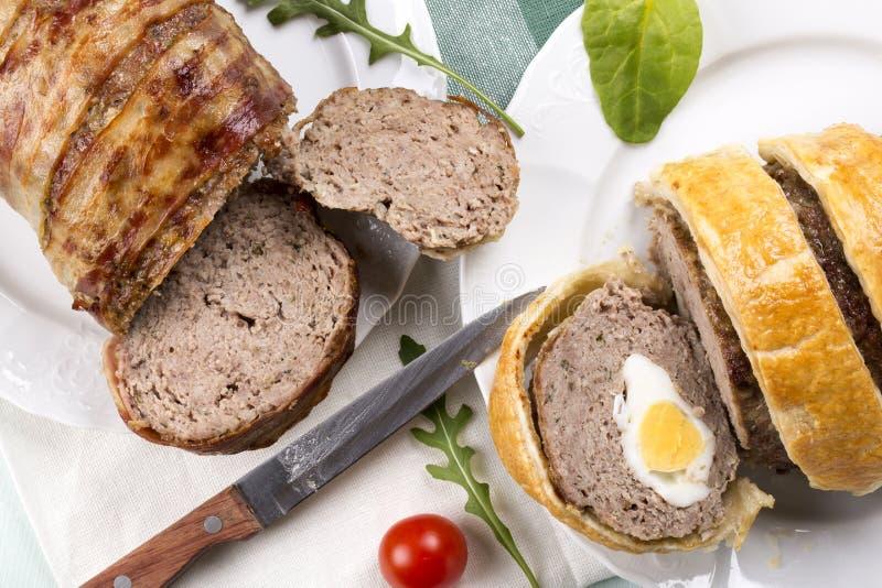 Dwa różny meatloaf minced mięso obraz stock
