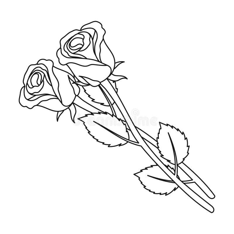 Dwa róż ikona w konturu stylu odizolowywającym na białym tle Ceremonia pogrzebowa symbolu zapasu wektoru ilustracja ilustracja wektor