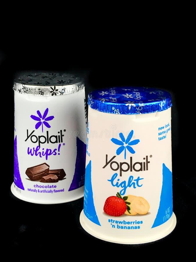 Dwa Różnego gatunku Yoplait jogurty na Czarnym tle obraz stock