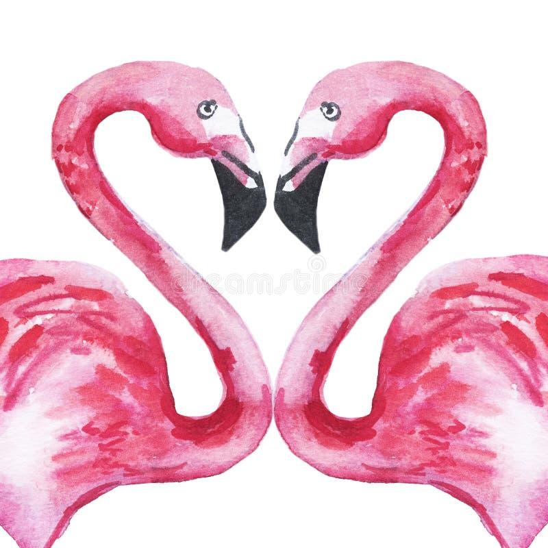 Dwa różowego flaminga w miłości tworzy serce beak dekoracyjnego lataj?cego ilustracyjnego wizerunek sw?j papierowa kawa?ka dym?wk royalty ilustracja