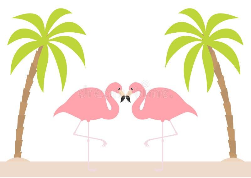 Dwa różowej flaming pary pozyci na jeden nodze Palmy drzewo, wyspa, plażowy piasek Egzotyczny tropikalny ptak Zoo zwierzęcia kole ilustracji
