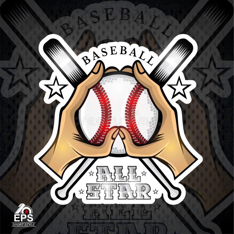 Dwa ręk chwyta baseballa krzyża i piłki nietoperze Ilustracja plenerowa przygoda sportów projekta ikona royalty ilustracja