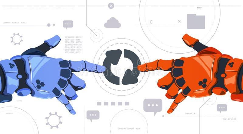 Dwa ręk dotyka aktualizowania Mechaniczny guzik Na Digital ekranu technologii Abstrakcjonistycznym Nowożytnym tle ilustracja wektor